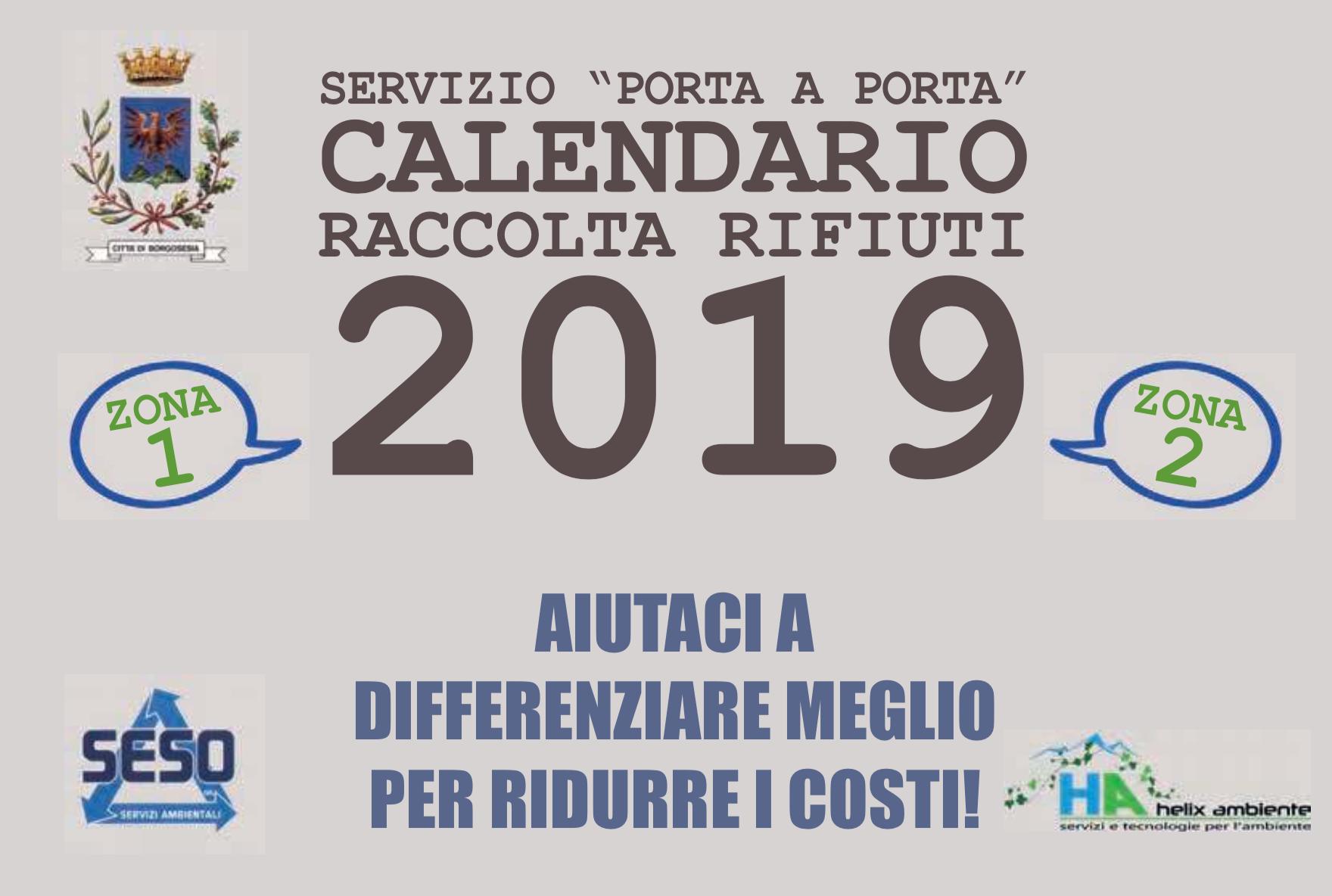 CALENDARIO raccolta rifiuti borgosesia 2019